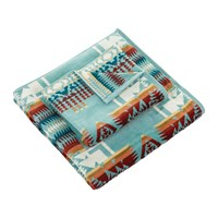 Pendleton Iconic Jacquard Towel Chief Joseph Aqua Hand Towel
