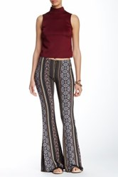 Hip Mixed Print Flare Leg Pant Blue