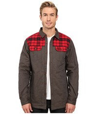 Columbia Kline Falls Shirt Jacket Buffalo Mountain Red Plaid Men's Long Sleeve Button Up Black