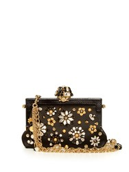 Dolce And Gabbana Vanda Crystal Embellished Satin Bag Black Multi