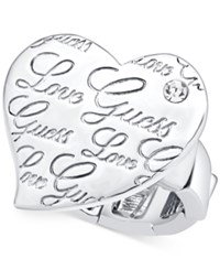 Guess Love Crystal Heart Stretch Ring Silver