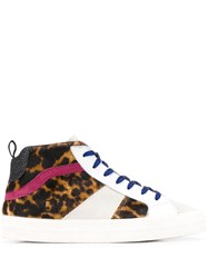 D.A.T.E. Panelled Leopard Print Sneakers White