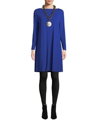 Eileen Fisher Twisted Back Viscose Jersey Long Sleeve Dress Royal