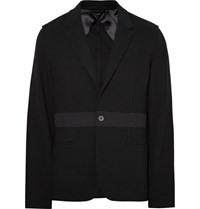 Lanvin Black Slim Fit Wool Trimmed Cotton Pique Blazer Black