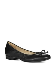 Anne Klein Petrica Leather Bow Tie Flats Black Leather