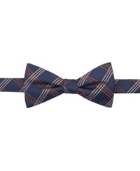 Countess Mara Navy Clear Grid Pre Tied Bow Tie Taupe