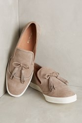 Anthropologie All Black Tasseled Suede Sneakers Taupe