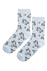 Topshop Unicorn And Star Ankle Socks Blue