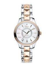 Christian Dior Dior Viii Montaigne Diamond 18K Rose Gold And Stainless Steel Automatic Bracelet Watch