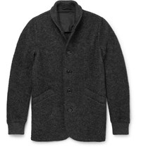 Aspesi Slim Fit Boiled Wool Blend Bomber Jacket Gray