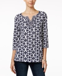 Charter Club Printed Beaded Tunic Only At Macy's Intrepid Blue