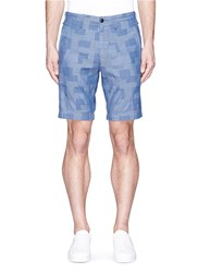 Alex Mill Patchwork Cotton Dobby Shorts Blue