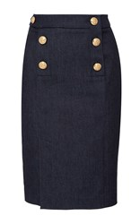 Alexis Mabille Fitted Denim Button Skirt Blue