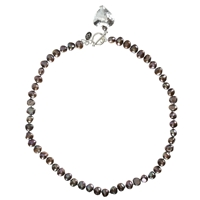 Claudia Bradby Pearl Sterling Silver Heart Charm Necklace Purple