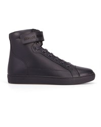 Armani Jeans Navy Aj Logo Perforated Leather Velcro High Top Sneakers Blue