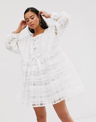 Sister Jane Mini Smock Dress With Bow Front Detail In Sheer Organza Check White