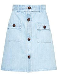 Miu Miu Bleached Denim Skirt Blue