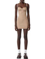 Burberry Tulle And Cotton Mini Dress Beige