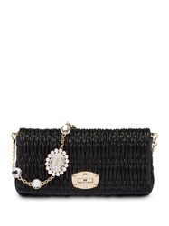 Miu Miu Cloquet Crystal Embellished Shoulder Bag Black