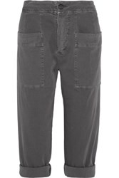 James Perse Cropped Stretch Cotton Blend Twill Tapered Pants Dark Gray