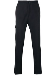 Versace Tapered Pinstriped Trousers Black