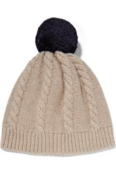 Chinti And Parker Aran Cable Knit Merino Wool Beanie Beige