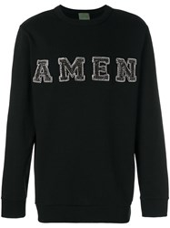 Amen Embellished Logo Sweatshirt Black