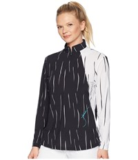 Jamie Sadock Sunsense R Lightweight Rain Drop Print 1 4 Zip Long Sleeve Top With 50 Spf Sugar White Long Sleeve Pullover