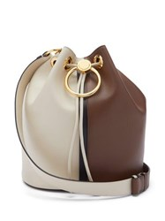 Marni Earring Small Leather Bucket Bag Brown White