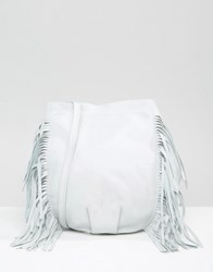 Mango Leather Fringed Bucket Bag White