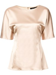 Sally Lapointe Round Neck Blouse Nude And Neutrals