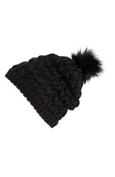 Women's Collection Xiix Crochet Pompom Beanie Black Black Paint