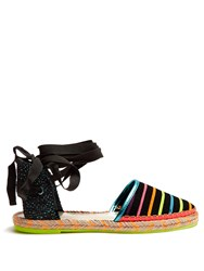 Sophia Webster Juana Striped Canvas Espadrilles Black Multi