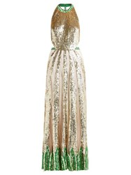 Temperley London Sycamore Sequinned Maxi Dress Green Multi