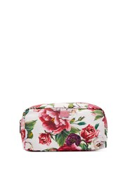 Dolce And Gabbana Floral Print Fabric Washbag Pink White