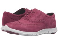 Cole Haan Zerogrand Wing Oxford Cabernet Suede Closed Hole Optic White Women's Shoes Pink