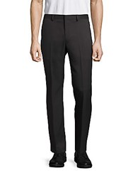 Saks Fifth Avenue Black Solid Slim Fit Pants Charcoal