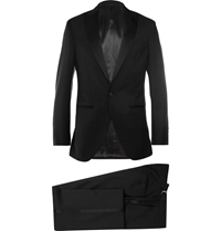 Hackett Satin Trimmed Wool And Mohair Blend Tuxedo Black