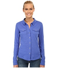 Carve Designs Anderson Button Down Azure Women's Long Sleeve Button Up Blue