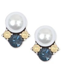 Lonna And Lilly Faux Pearl And Glass Bead Earrings Blue