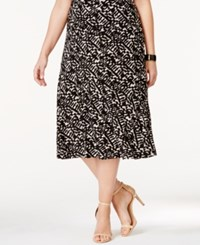 Jm Collection Plus Size Jacquard Midi Skirt Only At Macy's Brush Stoke