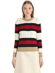 Gucci Striped Wool Cable Knit Sweater W Lurex Multicolor