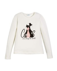 Mayoral Cats Graphic Print Long Sleeve Crewneck T Shirt Neutral Pattern