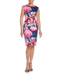 Vince Camuto Floral Sheath Dress Navy Multi