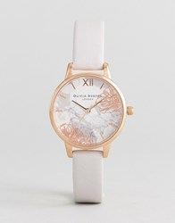 Olivia Burton Ob16vm12 Abstract Floral Leather Watch In Blush Pink