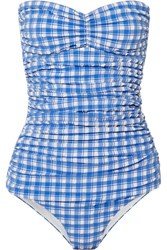 Ganni Jewett Gingham Halterneck Seersucker Swimsuit Blue