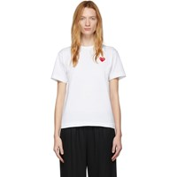 Comme Des Garcons Play White Fit Heart Patch T Shirt
