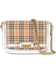 Burberry The 1983 Check Link Bag With Leather Trim Neutrals