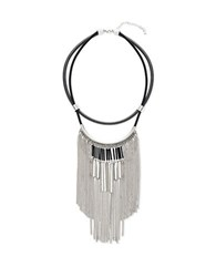Steve Madden Fringe On Double Strand Leather Necklace Silver