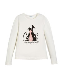 Mayoral Cats Graphic Print Long Sleeve Crewneck T Shirt Size 8 16 Neutral Pattern